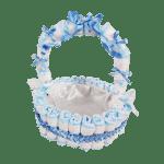 Cesta de Vime Revestida de Fralda Descartável – Azul – Tamanho 40 cm-jmc-cha-de-fraldas