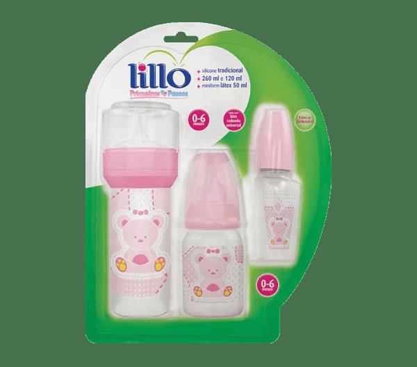 Kit Lillo Primeiros Passos Mamadeira Rosa