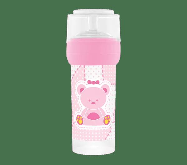 Mamadeira Lillo Primeiro Passos Silicone Rosa 260 ml