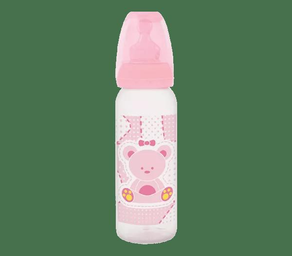 Mamadeira Lillo Primeiros Passos Silicone Rosa 240 ml