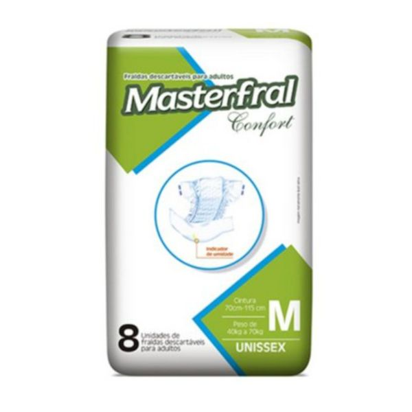 Fralda Masterfral Confort - Tamanho M - Fardo 64 unidades