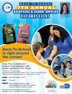 District 7 Backpacks and School Supplies Drive-Thru @ Robert Morgan Education Center (Adult Education Side)
