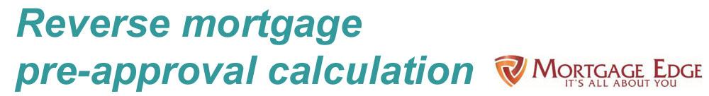 Reverser Mortgage Pre Approval