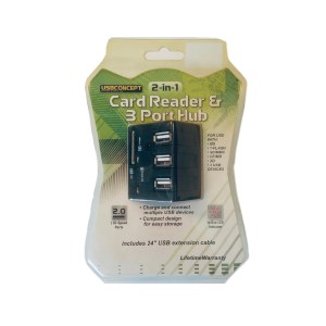 USB3.0 Card Reader and 3 Ports USB Hub, High Speed External Memory Card Reader