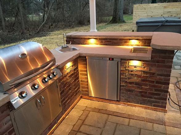 outdoor kitchen grill lighted sink jmt