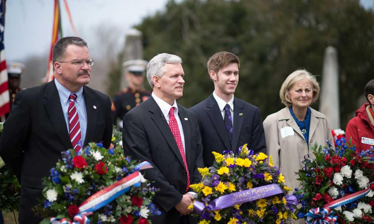 JMU President J. R. Alger and others present wreaths at tomb of James Madison, March 16, 2013 (Madison's birthday)