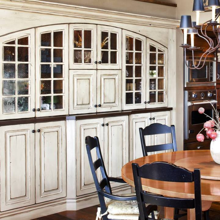 Full Custom Kitchen With Distressed Painted Wood Cabinets Glass Front Doors