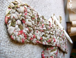 Rag Rug First Round With Hook | How to make rag-rug yarn from sheets and fabrics.