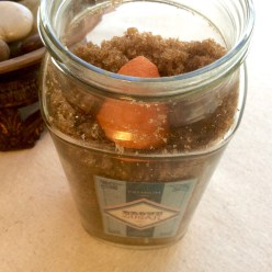 Put an orange peel in your brown sugar container to keep the sugar soft — you know how brown sugar can get … all clumpy and hard. And no, the peel won't mold or anything. This is an old trick — tried and true.