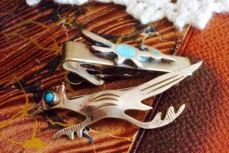 Turquoise and Silver Road Runner Lapel Pin and Neck Tie Pin