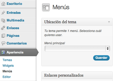 Configuración Menú WordPress