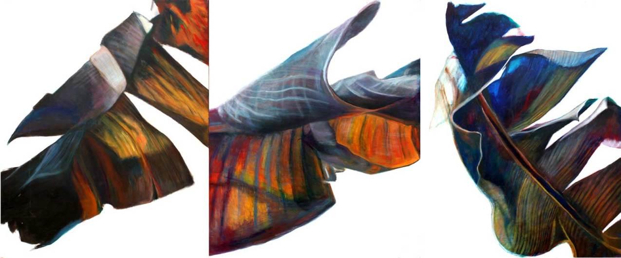 "Banana Leaf Triptych 144"" x 180"" Mixed Media on Canvas"