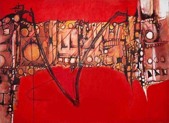 """Bridge Over Troubled Waters 66"""" x 89.5"""" Mixed Media on Canvas"""