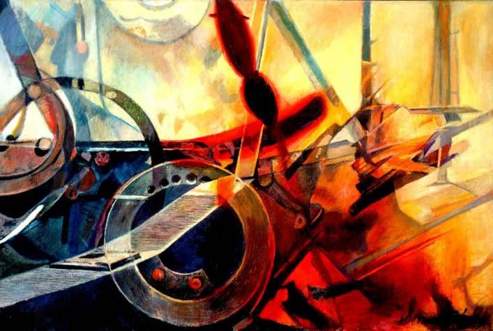 "Neptune's Icon 40"" x 60"" Mixed Media on Canvas"