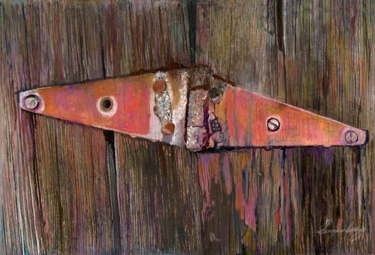 "Vibrant Latch 33.5"" x 50"" Mixed Media on Canvas"
