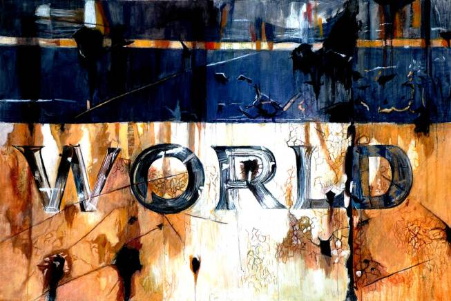 "World 48"" x 72"" Mixed Media on Canvas"