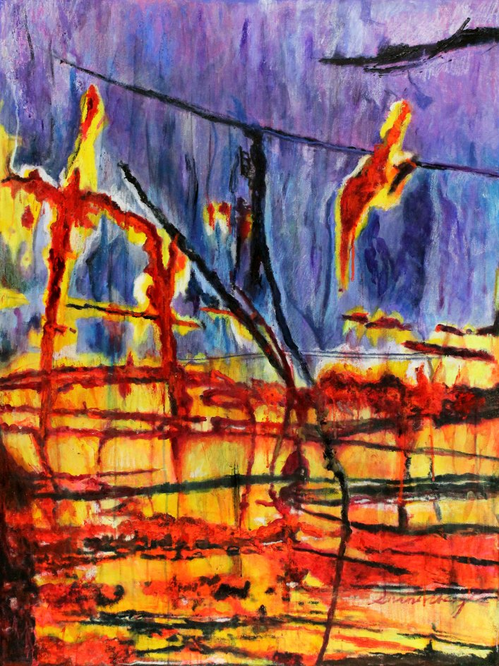 """Wages Of War 49"""" x 37"""" Mixed Media on Canvas"""