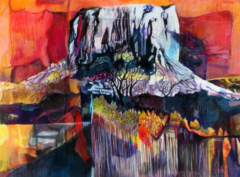 """Mt. Kilimanjaro Revisited 38"""" x 53"""" Mixed Media on Paper"""