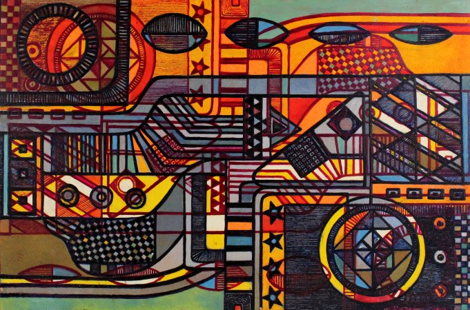 """Thermal Magnetism 24"""" x 36"""" Etching on Paper"""