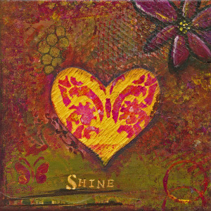 "This is a photo of an 8x8 canvas collage featuring a yellow heart w a butterfly in the center of it and teh word ""Shine"" below it"