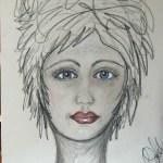 A Face Sketch Using Pastel Pencils