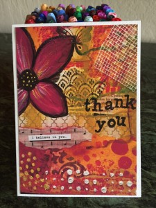 a photo of a hand painted thank you card
