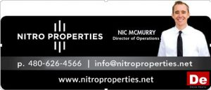 An image of Nic McMurry and his contact info www.nitroproperties.com