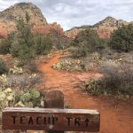 A photo of a trail running through the red rocks of Sedona Arizona