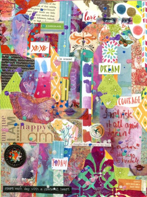 Inspiring messages created with collage art to lead you down a personal development path