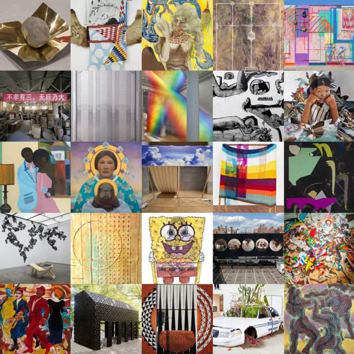 Composição de imagem com trabalhos dos 25 artistas