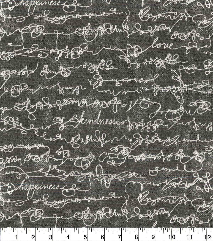 ellen degeneres upholstery fabric 54 charcoal love script