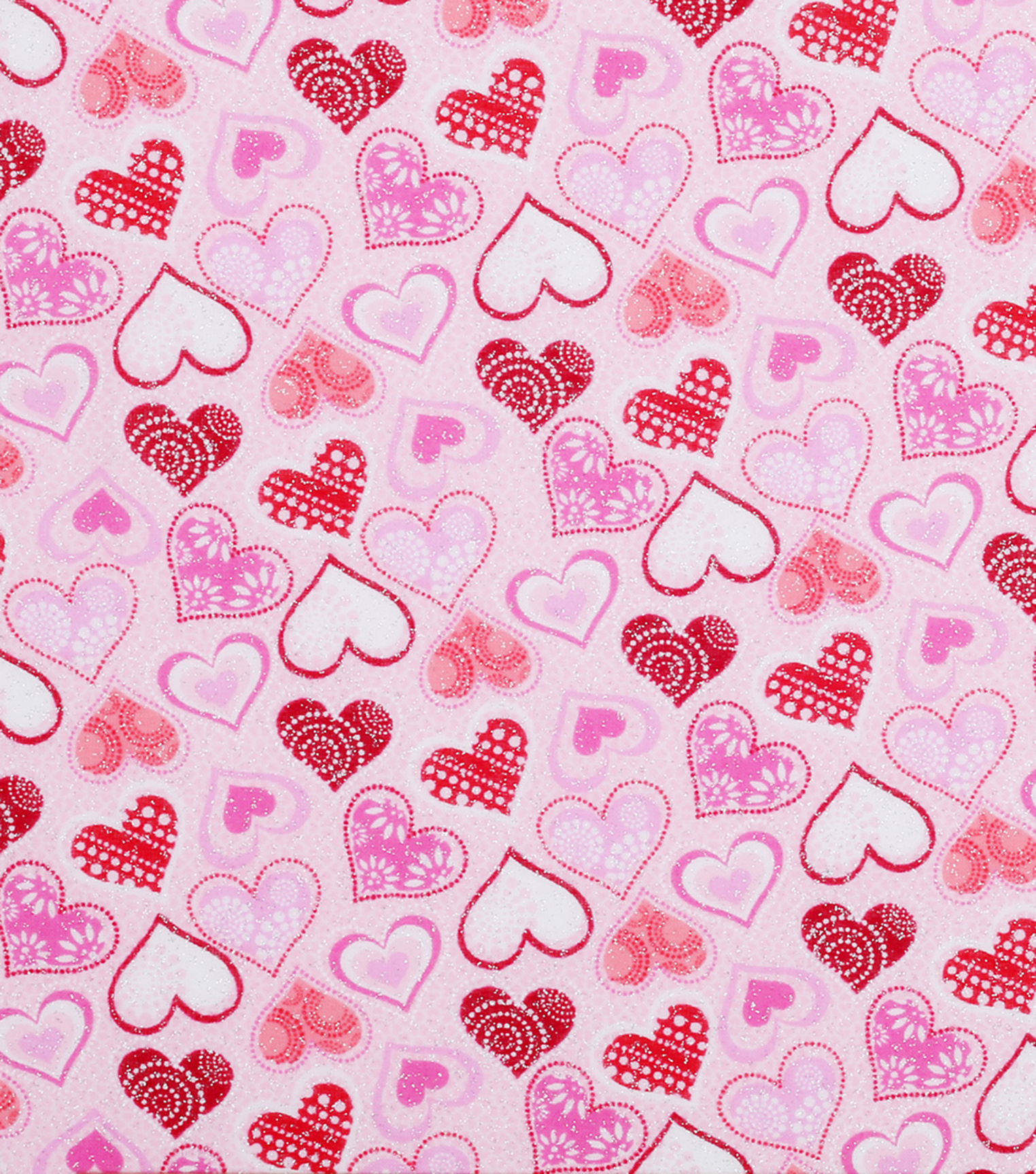 Valentine S Day Glitter Fabric Patterned Hearts