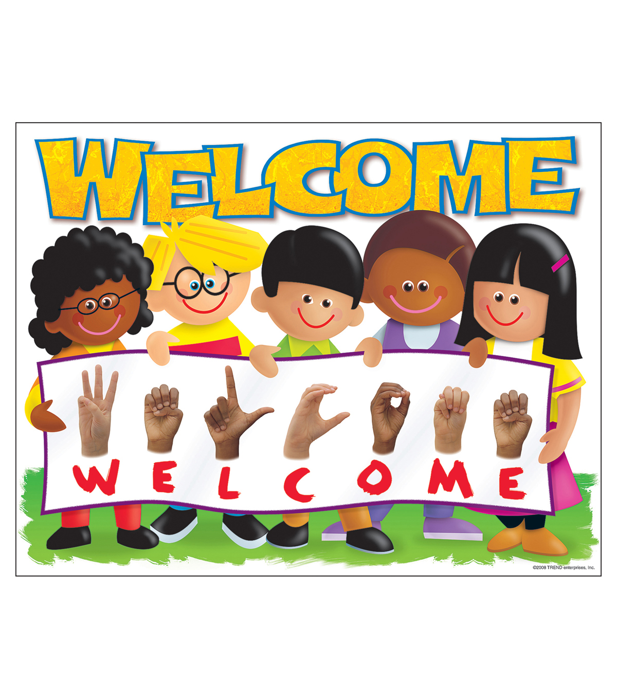Sign Language Welcome Trend Kids Learning Chart 17 X22