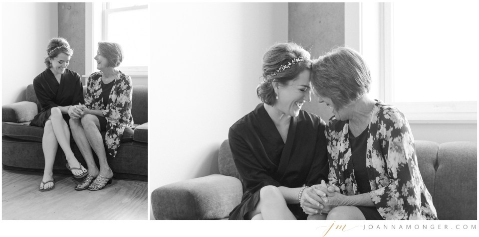 A bride laughs with her mom while getting ready for her elegant wedding at Canvas Event Space in SODO, Seattle, WA. | Joanna Monger Photography | Snohomish & Seattle Wedding Photographer
