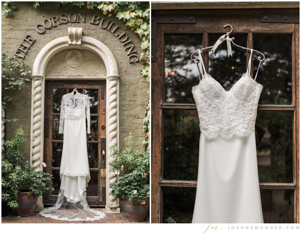 Photos of a hanging wedding dress from a gorgeously-detailed wedding at the Corson Building in SODO, Seattle, WA. | Joanna Monger Photography | Snohomish & Seattle Wedding Photographer
