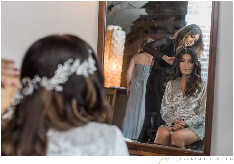 A bride gets ready for her gorgeously-detailed wedding at the Corson Building in SODO, Seattle, WA. | Joanna Monger Photography | Snohomish & Seattle Wedding Photographer