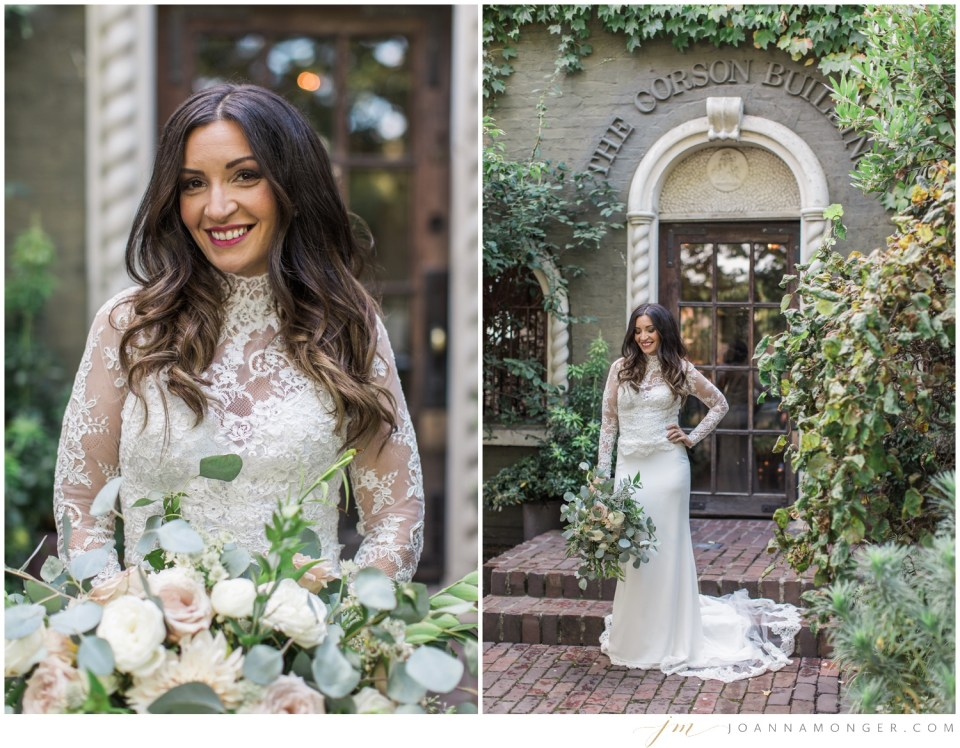 Photos of a smiling bride before her gorgeously-detailed wedding at the Corson Building in SODO, Seattle, WA.   Joanna Monger Photography   Snohomish & Seattle Wedding Photographer