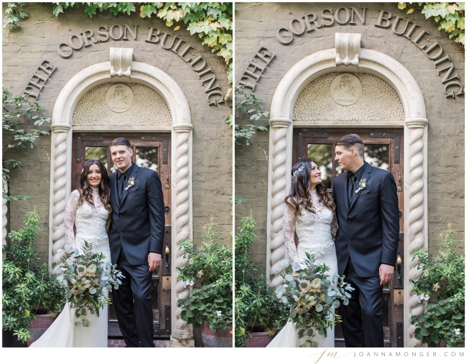 A bride and groom pose for photos during their gorgeously-detailed wedding at the Corson Building in SODO, Seattle, WA.   Joanna Monger Photography   Snohomish & Seattle Wedding Photographer