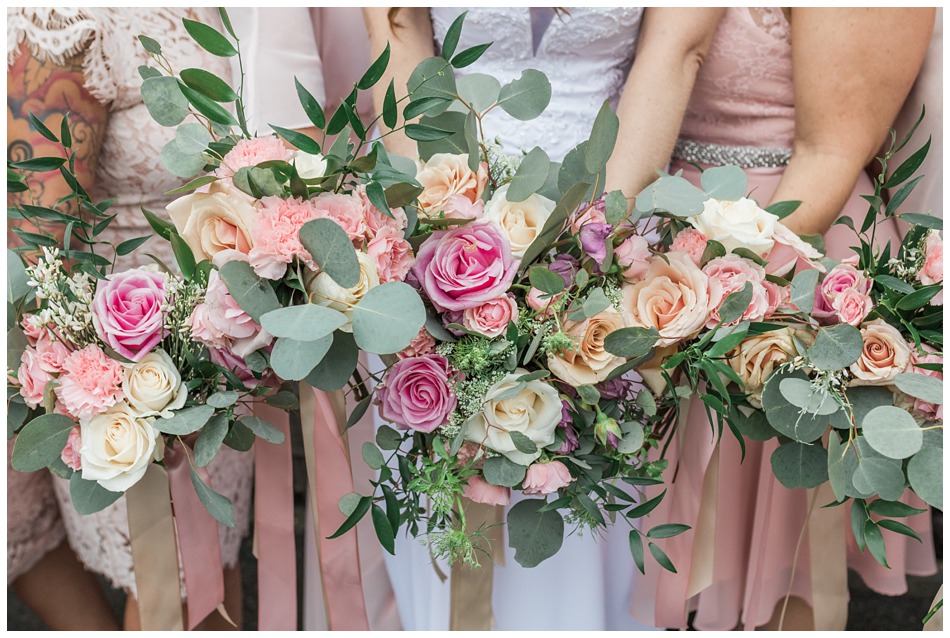 A photo of floral bouquets from a special winter wedding at Hidden Meadows, a wedding venue in Snohomish near Seattle, WA. | Joanna Monger Photography | Snohomish & Seattle Wedding Photography