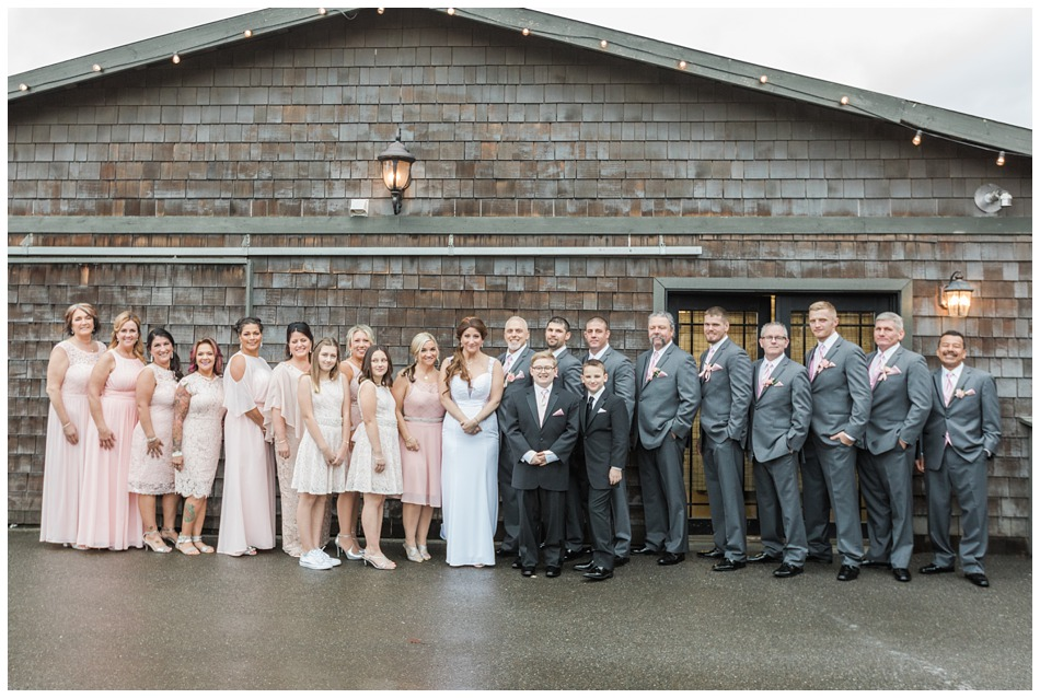 A photo of a bride, groom, and their bridal party before their a special winter wedding at Hidden Meadows, a wedding venue in Snohomish near Seattle, WA. | Joanna Monger Photography | Snohomish & Seattle Wedding Photography