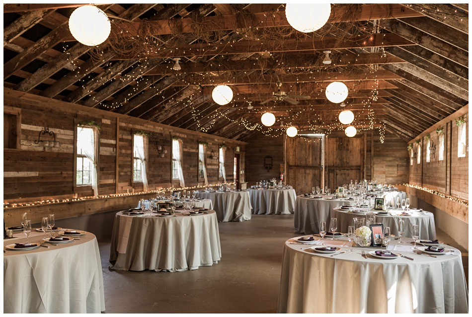Photo of reception area at a rustic barn wedding at Craven Farms in Snohomish, a wedding venue near Seattle. | Joanna Monger Photography