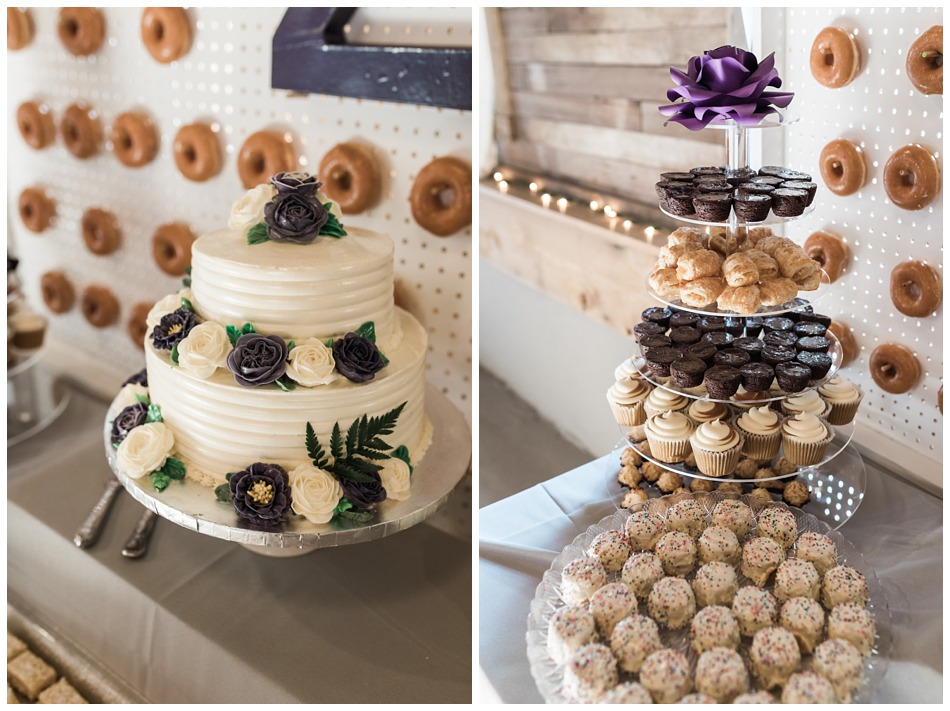 Photo of wedding cake and dessert bar at a rustic barn wedding at Craven Farms in Snohomish, a wedding venue near Seattle. | Joanna Monger Photography