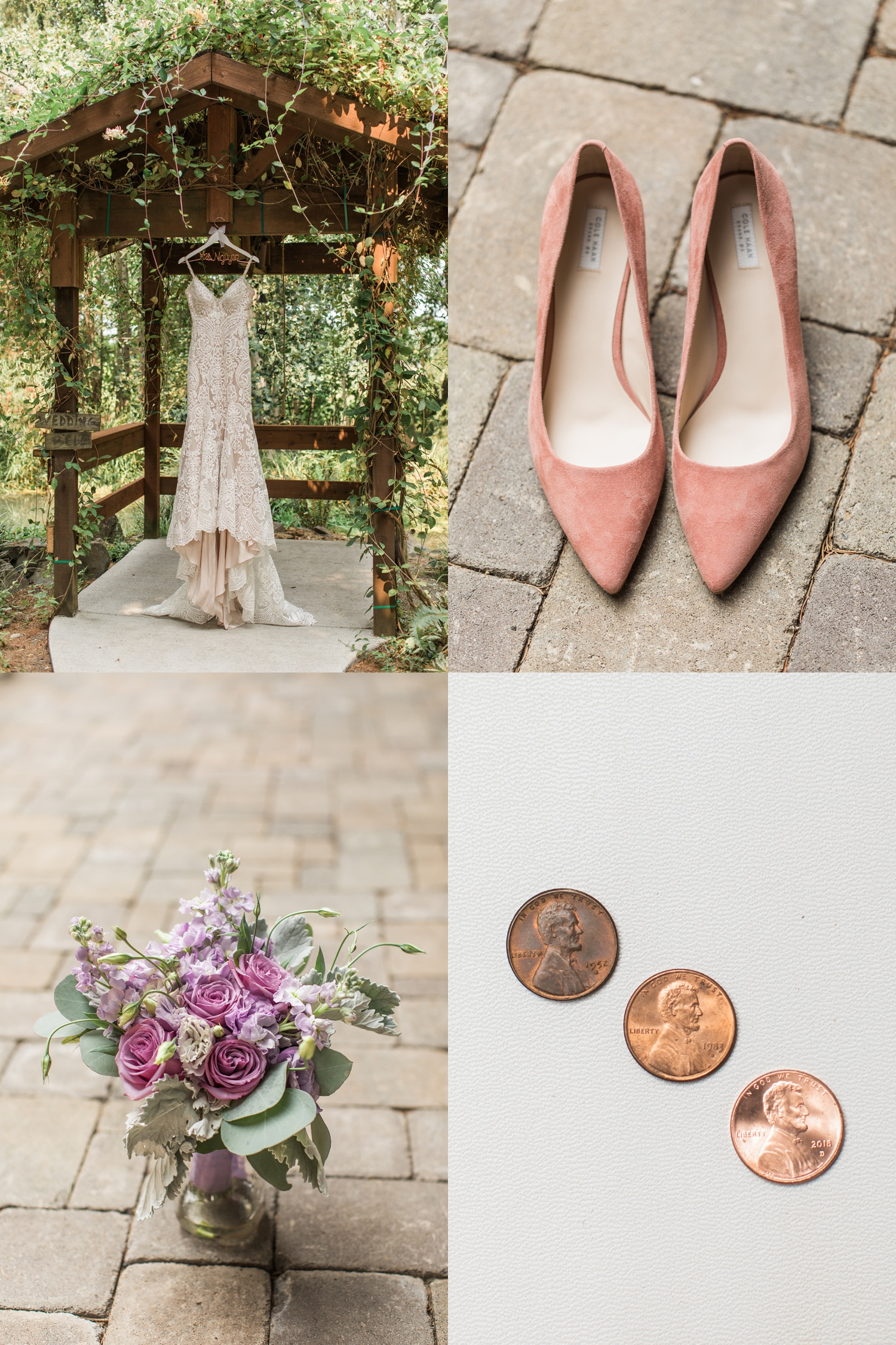 A hanging wedding dress, shoes, and a bridal bouquet for a wedding at Woodland Meadow Farms in Snohomish, a wedding venue near Seattle, WA. | Joanna Monger Photography | Seattle & Snohomish Photographer