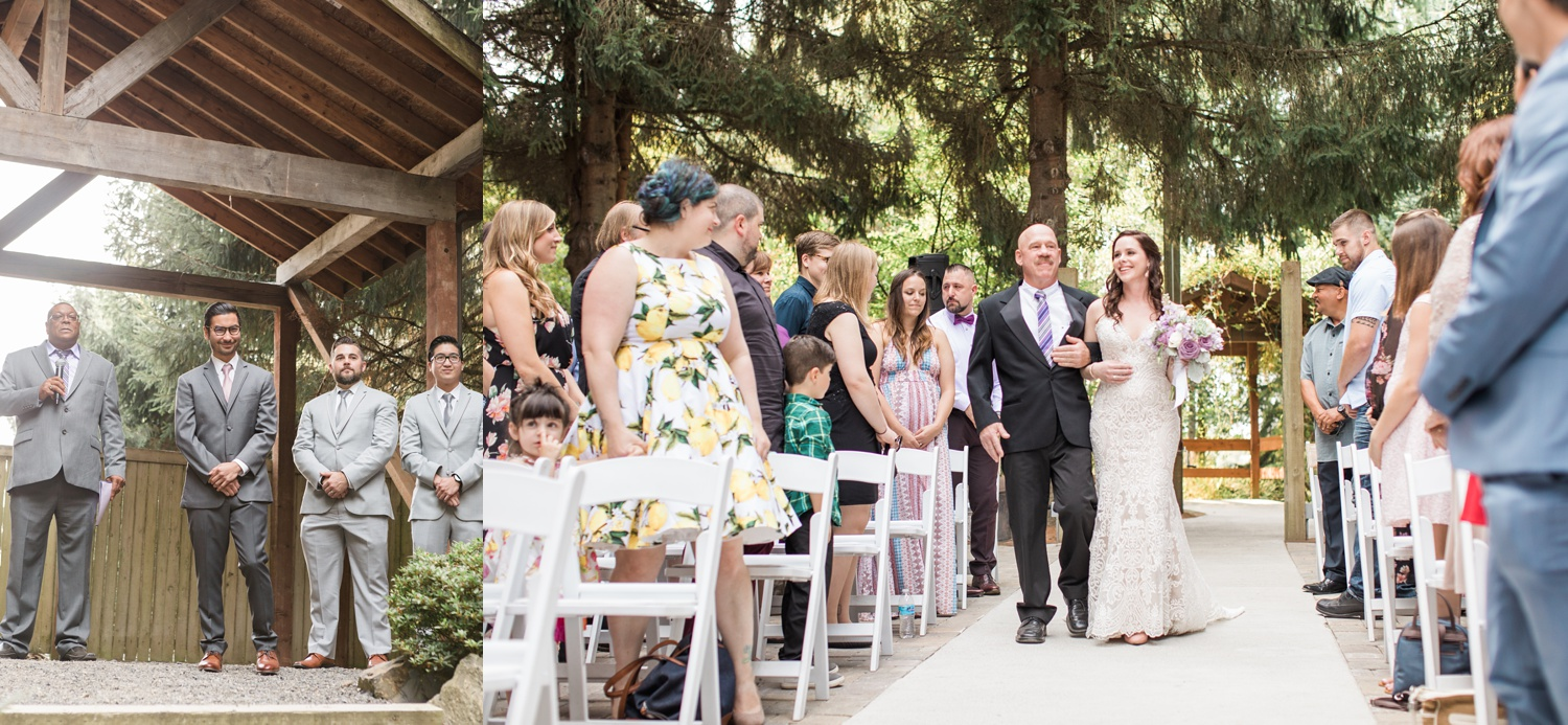 A bride is escorted down the aisle during her wedding at Woodland Meadow Farms in Snohomish, a wedding venue near Seattle, WA. | Joanna Monger Photography | Seattle & Snohomish Photographer