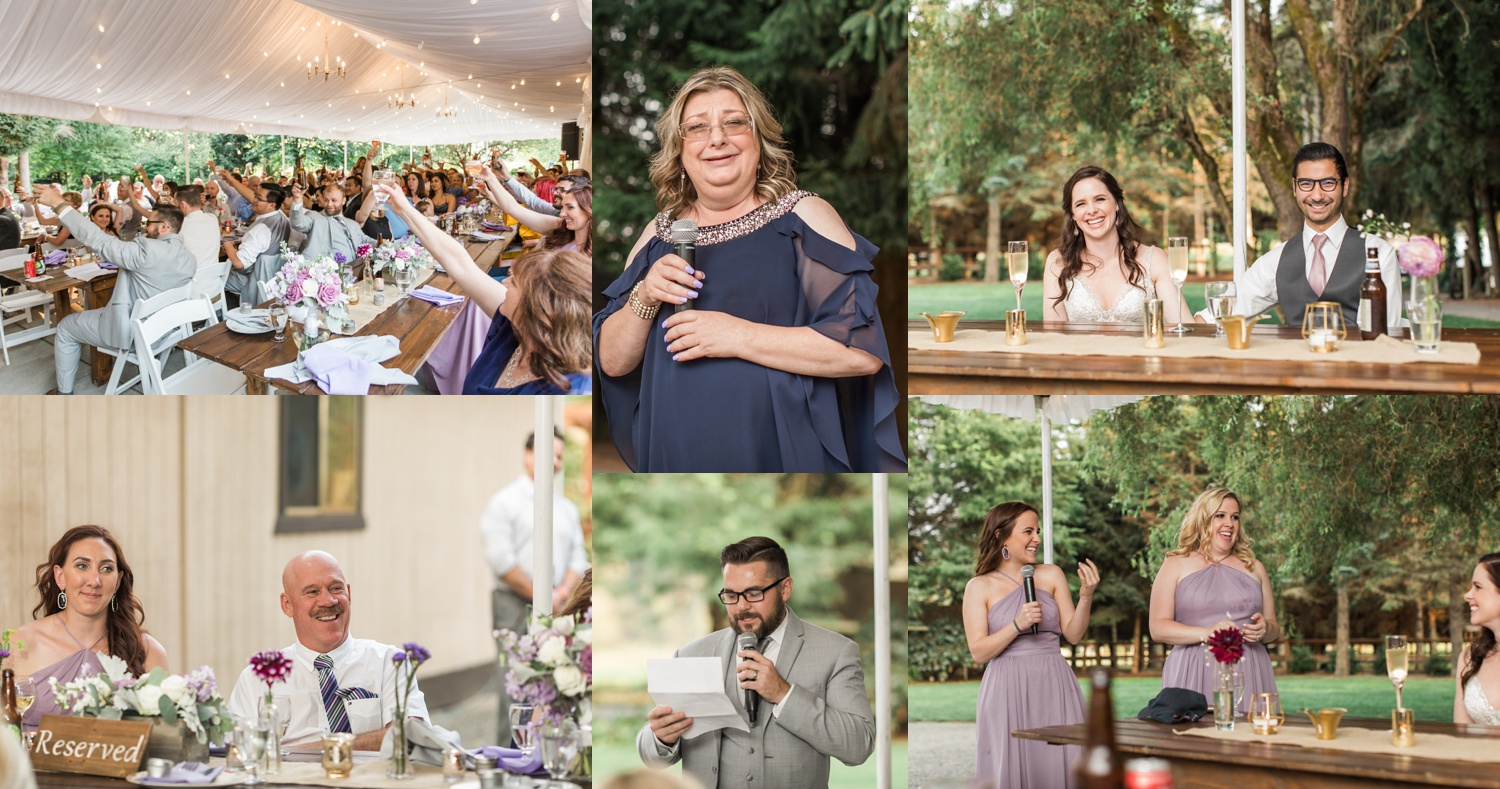 A photo of toasts during a wedding reception at Woodland Meadow Farms in Snohomish, a wedding venue near Seattle, WA. | Joanna Monger Photography | Seattle & Snohomish Photographer