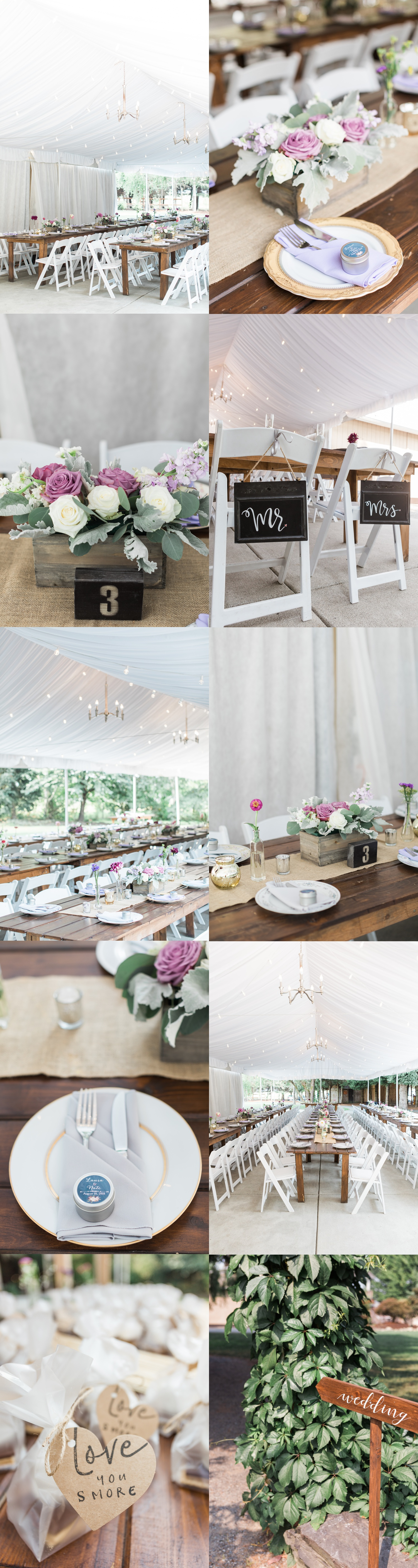 A photo of the reception area and decor for a wedding at Woodland Meadow Farms in Snohomish, a wedding venue near Seattle, WA. | Joanna Monger Photography | Seattle & Snohomish Photographer