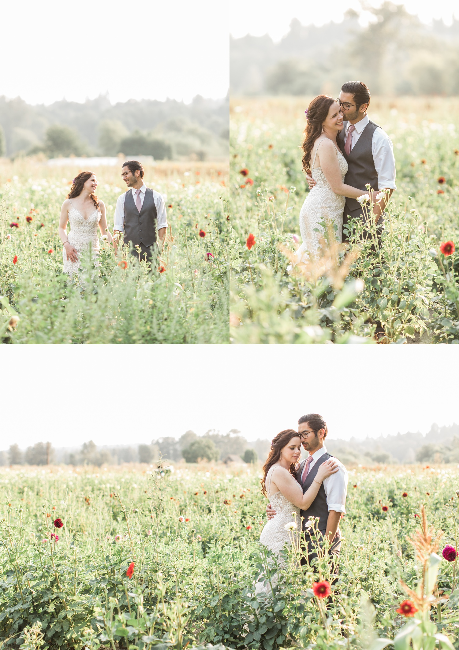 A bride and groom embrace in a field of flowers before their wedding at Woodland Meadow Farms in Snohomish, a wedding venue near Seattle, WA. | Joanna Monger Photography | Seattle & Snohomish Photographer