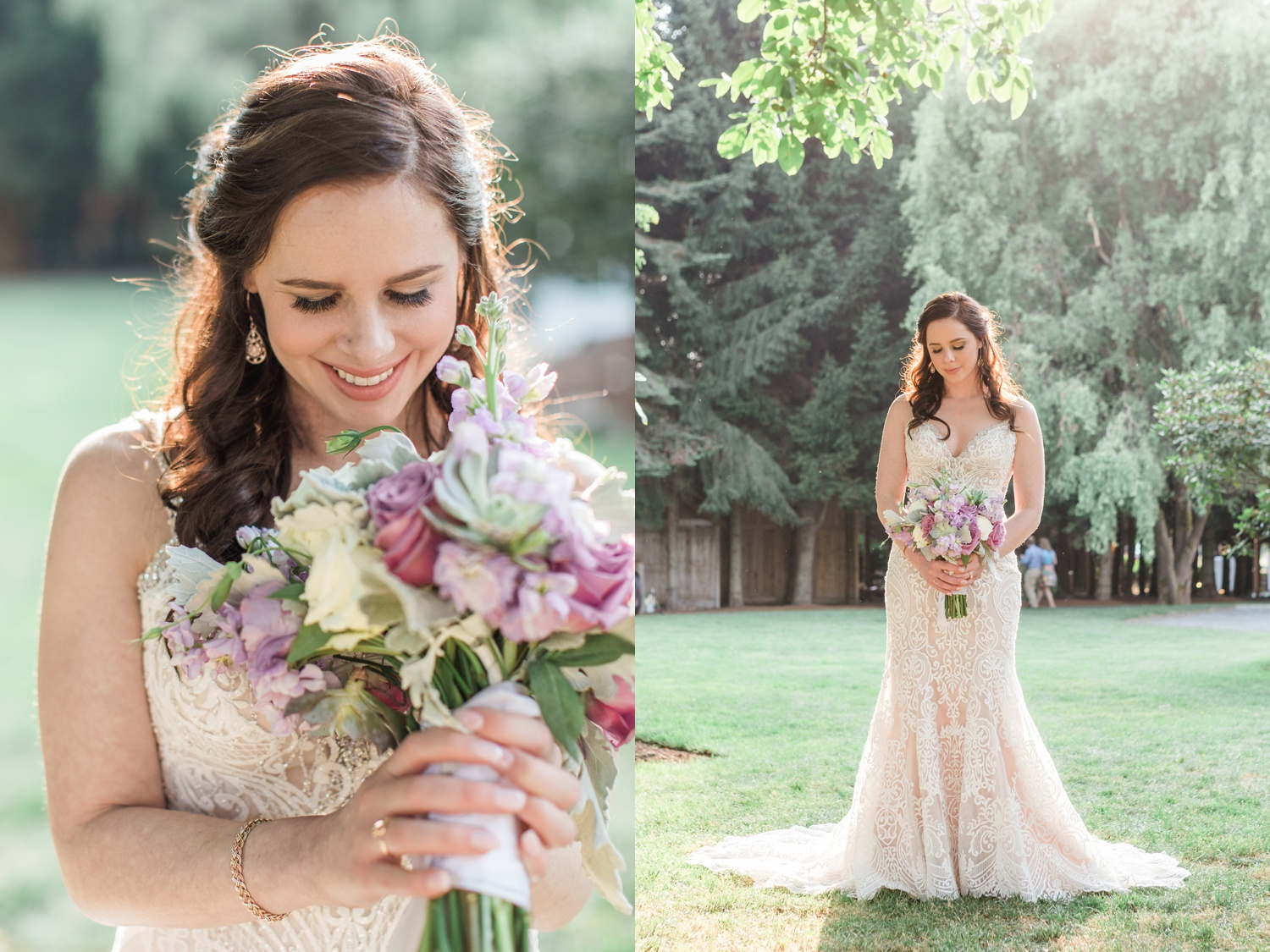 A bride hold her bouquet and smiles before her wedding at Woodland Meadow Farms in Snohomish, a wedding venue near Seattle, WA. | Joanna Monger Photography | Seattle & Snohomish Photographer