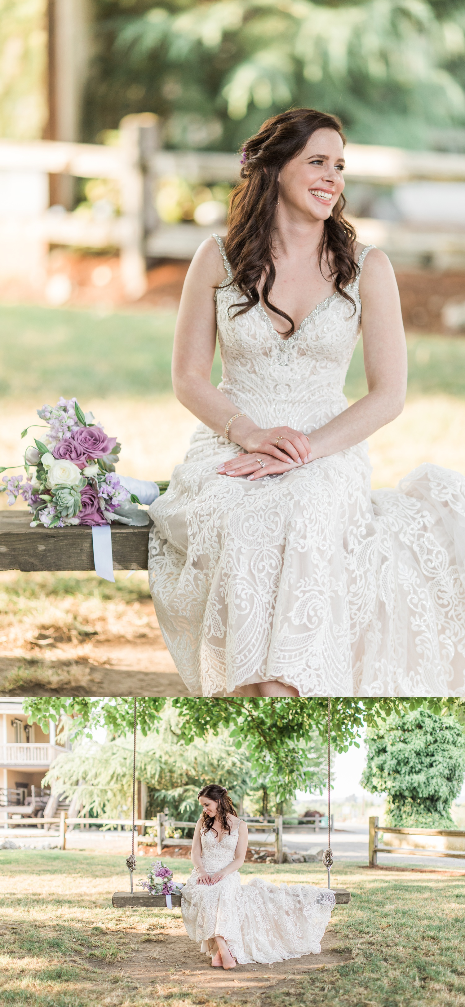 Photo of beautiful bride at her wedding in Snohomish WA at Woodland Meadow Farms near seattle