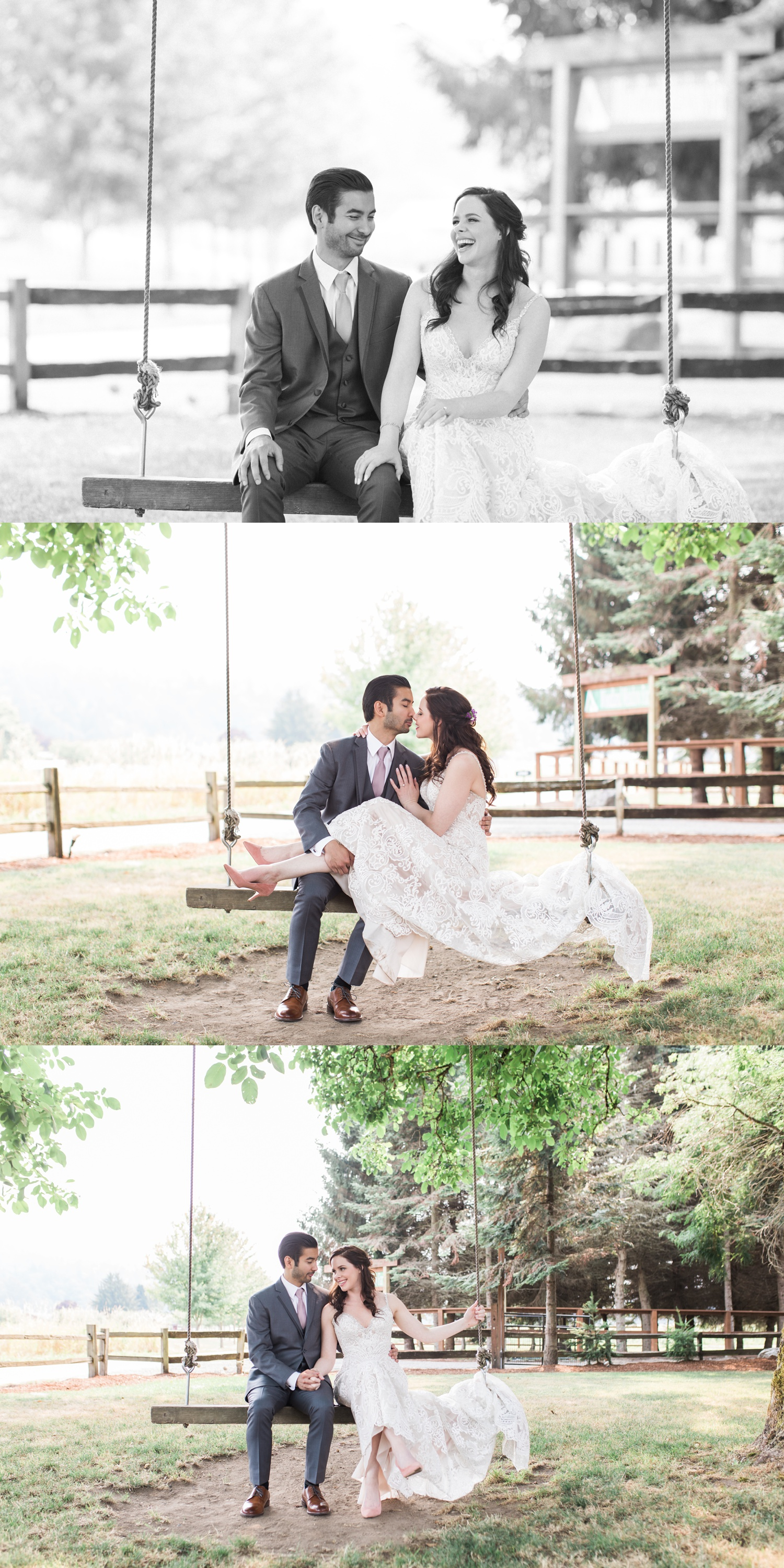 Bride & Groom on swing at Woodland Meadow Farms in Snohomish wedding near Seattle WA